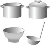 Kitchen ware set: pan, drinking bowl and ladle Stock Photos