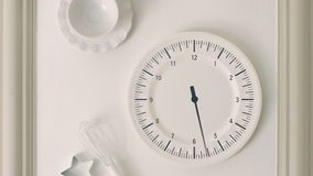 Kitchen watch wall clock at timelapse panoramic Royalty Free Stock Images