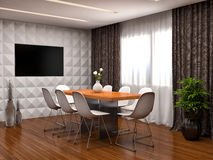 Kitchen in white and brown floor. 3d illustration Stock Image