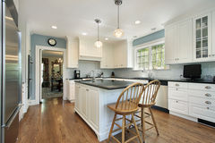 Kitchen with white cabinetry Royalty Free Stock Photography
