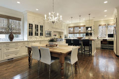 Kitchen with white cabinetry royalty free stock image