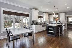 Kitchen with white cabinetry stock photography