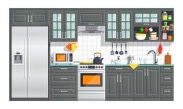Kitchen white furniture with appliances illustration. Royalty Free Stock Photos