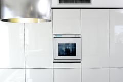 Kitchen white oven modern architecture detail Royalty Free Stock Photo