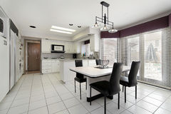 Kitchen with white tile royalty free stock image