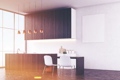 Kitchen with white walls and poster Royalty Free Stock Photography