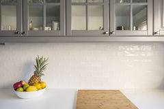 Kitchen with white worktop stock photography