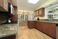 Kitchen with windowed eating area Stock Photography