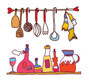 Kitchen and wine accesorries funny design Stock Photo