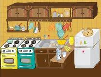 Kitchen wit lots of kitchen stuff stock illustration
