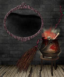 Kitchen Witch. A kitchen witch with a cauldron and broom Royalty Free Stock Images