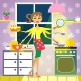Kitchen woman cuisine. Woman in the kitchen, cooking vector illustration Stock Images