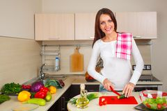 Kitchen woman making salad Royalty Free Stock Photography
