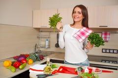 Kitchen woman making salad Royalty Free Stock Photo