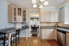 Kitchen with wood cabinetry Royalty Free Stock Photo