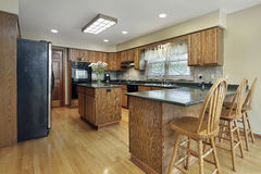 Kitchen with wood cabinetry Royalty Free Stock Image