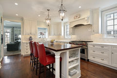 Kitchen with wood counter island Royalty Free Stock Image