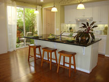 Kitchen with Wood Floors. Cheerful white kitchen with wood floors green accent color Stock Image