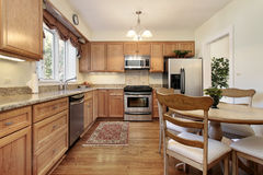 Kitchen with wood paneling Stock Image