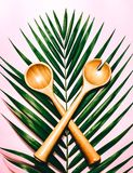 Tropical Spoon. Kitchen Wood spoon in tropical leaf stock image