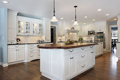 Kitchen with wood top island. Kitchen in luxury home with wood top island