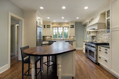 Kitchen with wood top island Stock Photo