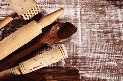 Kitchen wooden accessories Stock Photography