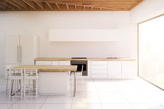 Kitchen with wooden ceiling, narrow picture, toned Royalty Free Stock Photography