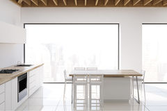 Kitchen with wooden ceiling, side view Stock Images