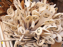 Kitchen. Wooden smiling spoons Stock Photography