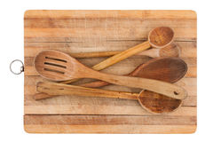 Kitchen wooden spoons on wooden board Stock Photos
