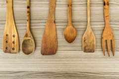 Kitchen wooden utensil of scapula, Stock Image