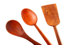 Kitchen wooden utensils isolated Stock Images