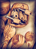 Kitchen wooden utensils. In vintage style royalty free stock photo