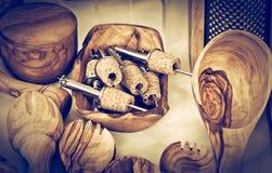 Kitchen wooden utensils. On vintage style stock image
