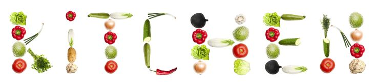 Kitchen word made of vegetables Royalty Free Stock Photography