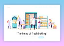 Kitchen Worker Make Bakery Product Landing Page. Happy Male and Female Chef Character Prepare Meal. Fresh Bakery Design stock illustration