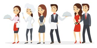 Kitchen workers set. Chef and waitress with hosts Stock Image