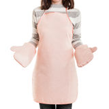 Kitchen working housewife wearing food cooking apron and oven mi Stock Photography