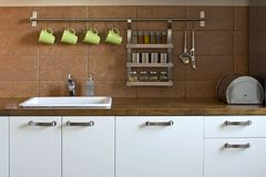 Kitchen worktop. In the flat Royalty Free Stock Photo