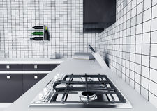 Kitchen worktop with gas stove Stock Photography