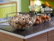 Kitchen worktop macro photo mushrooms Stock Photography