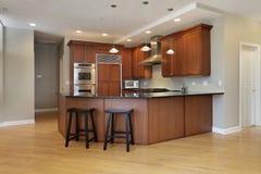 Kitchen with wraparound counter Stock Photos