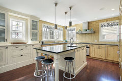 Kitchen with yellow tile Stock Photography