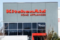 Greenville - Circa April 2018: KitchenAid Greenville operations factory, where Whirlpool produces KitchenAid brand mixers II Stock Images