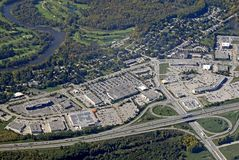 Kitchener Waterloo aerial. Aerial view of the urban landscape around Kitchener Waterloo region in Ontario Canada stock photography