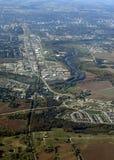 Kitchener Waterloo aerial. Aerial view of the urban landscape around Kitchener Waterloo region in Ontario Canada royalty free stock image