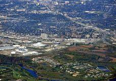 Kitchener Waterloo aerial. Aerial view of the urban landscape around Kitchener Waterloo region in Ontario Canada Stock Photography