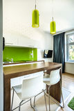 Kitchenette and dining space in hotel room Stock Photos