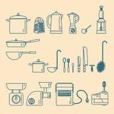 kitchenware Συσκευές και εργαλεία Στοκ Εικόνες